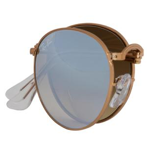 Ray-ban Round Folding Sunglasses Rb3532 1989U 47 | Bronze-Copper Frame | Silver Gradient Flash Lenses