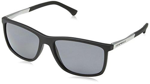 Emporio Armani EA4058 506381 Matte Black EA4058 Square Sunglasses Polarised Len