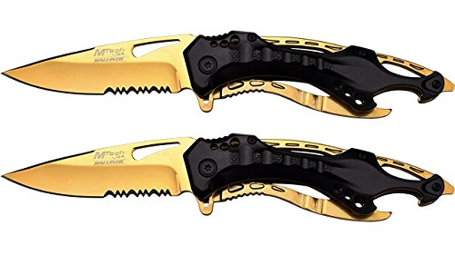 MTech USA Ballistic MT-A705 Series Spring Assist Folding Knife, 4.5-Inch Closed (Black/Gold, 2-Pk)