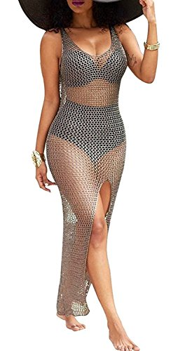 Women's Summer Beach Sunscreen Net Cover Ups Hollow Out High Slit Beach Dress