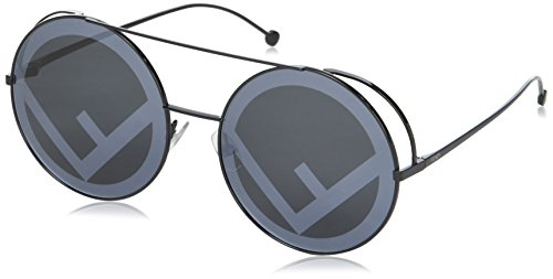 Fendi FF0285/S 807 Black FF0285/S Round Sunglasses Lens Category 3 Lens Mirrore
