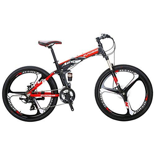 EUROBIKE A6 Aluminum Mountain Bike 21 Speed 26 Inch 3 Spoke Wheels Dual Suspension Folding Bike