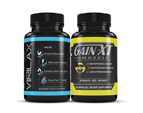 Pack! Gain XT Premium Muscle Growth & Virilax Enhance Muscle Mass Testosterone Booster Dietary Supplement 60 Capsules W/ Horney Goat Weed, L-Citrulline, L-Arginine & Calcium – Enhances Libido,…