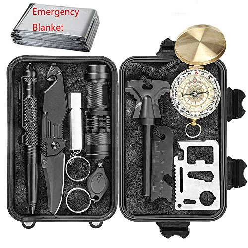 CHANGKU EILIKS Emergency Survival Kits 11 in 1, Multi Professional Tactical Kit Outdoor Survival Gear Kit for Traveling Hiking Biking Climbing Hunting