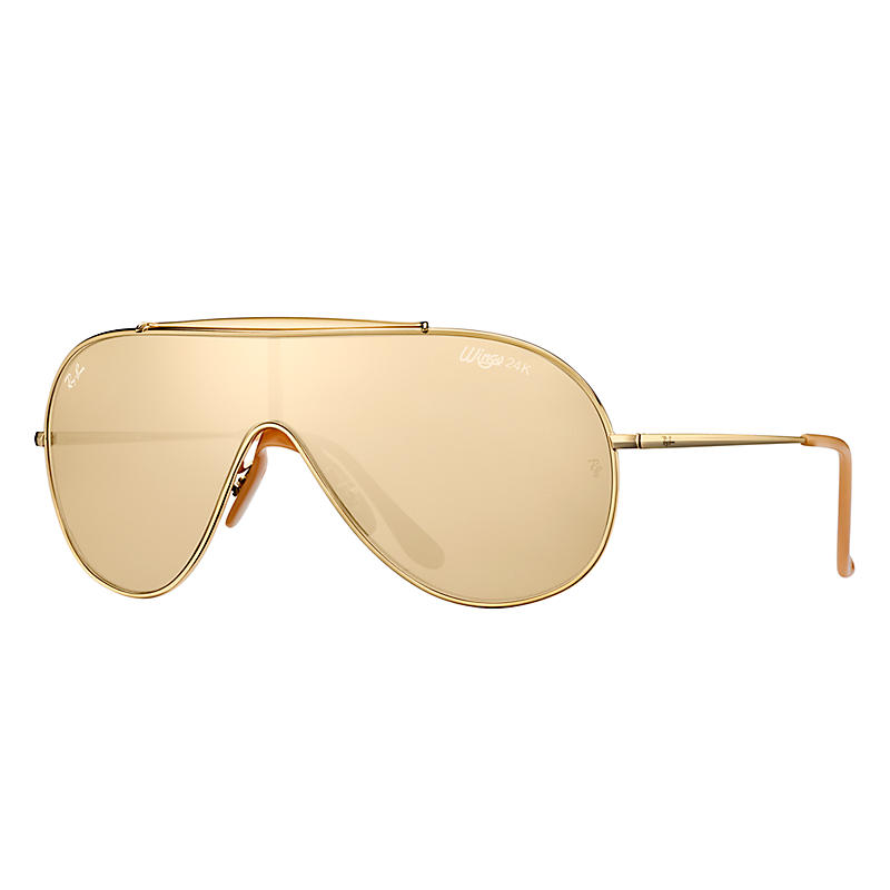 Ray-Ban Gold en Wings Gold Sunglasses, Yellow Lenses – Rb3597k