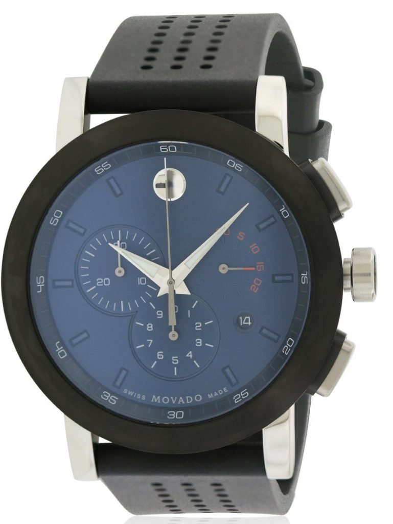 Movado 607003 Museum Chronograph Rubber Men's Watch – Blue Dial