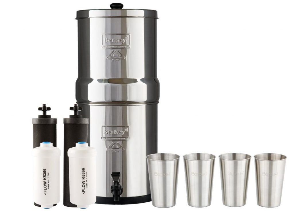 Boroux Big Berkey Water Filter System w/2 Black Purifier Filters (2 Gallons) Bundled w/1-set of Fluoride Filters (PF2) and 1-set of 4 12 oz Stainless Steel Cups